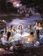 Krishna in einem See mit Frauen